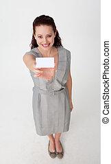 carte, business, élevé, tenue, femme affaires, blanc, angle
