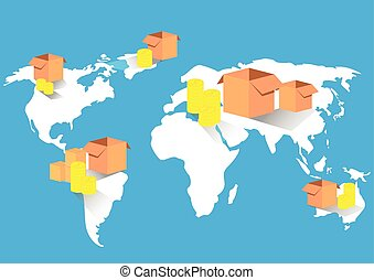 carte, business, commerce global, exportation, importation, mondiale