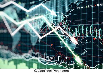 carte, business, flèches, diagramme, incandescent, mondiale