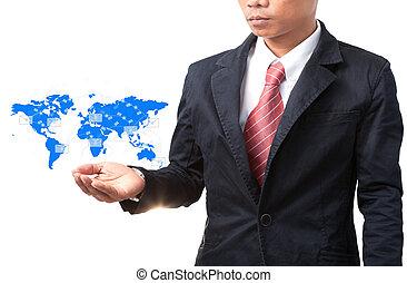 carte, business, information, main tenant monde, données, homme