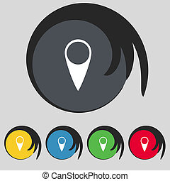 carte, buttons., ensemble, indicateur, symbole., vecteur, emplacement, icon., coloré, gps