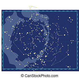 carte, céleste, ciel, nuit
