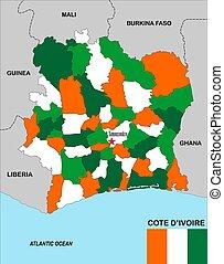 carte, côte ivoire