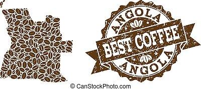 carte, café, angola, détresse, timbre, haricots, mosaïque