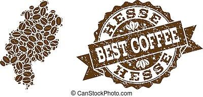 carte, café, détresse, timbre, état, haricots, hesse, mosaïque