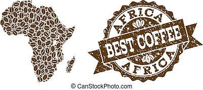 carte, café, détresse, timbre, afrique, haricots, mosaïque