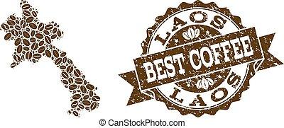 carte, café, détresse, timbre, haricots, laos, mosaïque
