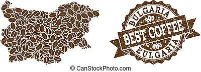 carte, café, détresse, timbre, haricots, mosaïque, bulgarie