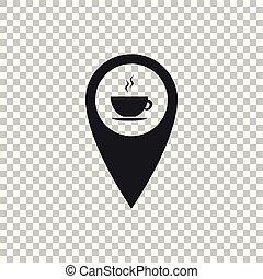 carte, café, plat, tasse, isolé, illustration, arrière-plan., chaud, vecteur, icône, indicateur, transparent, design.