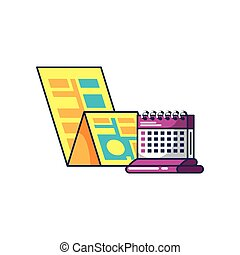 carte, calendrier, rappel, guide, emplacement