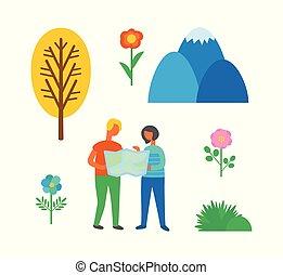 carte, camping, couple, isolé, manière, utilisation, trouver