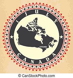 carte canada, étiquette, vendange