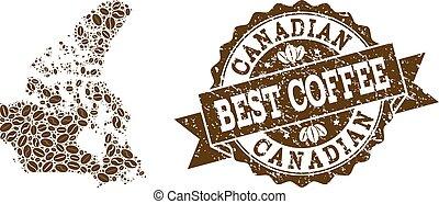 carte canada, café, détresse, timbre, haricots, mosaïque