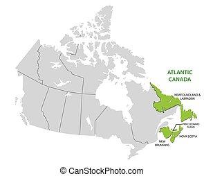 carte canada, canadien, etats, quatre, enquête, atlantique