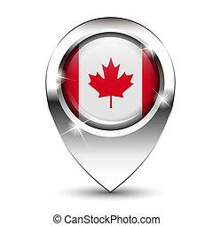 carte canada, drapeau, épingle
