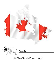 carte canada, drapeau