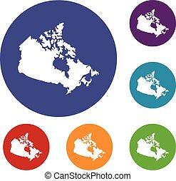 carte canada, ensemble, icônes