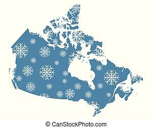 carte canada, flocons neige