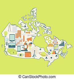 carte canada, icônes technologie