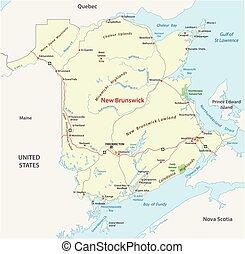 carte canada, province, atlantique, nouveau brunswick, route
