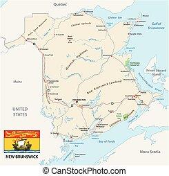 carte canada, province, drapeau, atlantique, nouveau ...