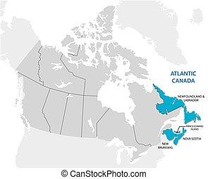 carte canada, quatre, canadien, etats, enquête, atlantique