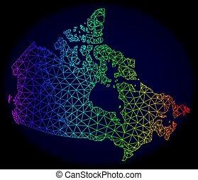 carte canada, réseau, spectre, maille, polygonal, vecteur