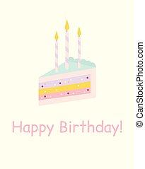 carte, candles., gâteau, anniversaire