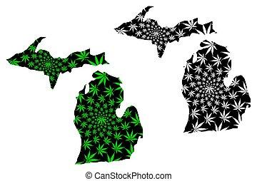 carte, cannabis, -, conçu, michigan, feuille
