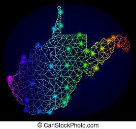 carte, carcasse, couleur, ouest, spectre, taches, virginie, polygonal, état, vecteur, lueur, maille