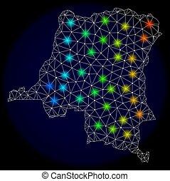 carte, carcasse, lumière, taches, polygonal, clair, maille, république, congo, démocratique