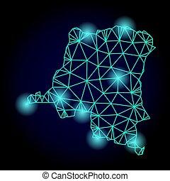 carte, carcasse, lumière, taches, polygonal, maille, république, congo, démocratique