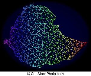 carte, carcasse, spectre, maille, polygonal, ethiopie, vecteur