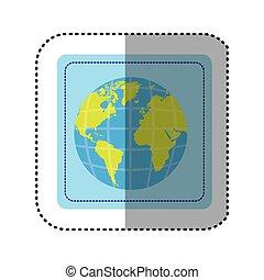 carte, carrée, continents, autocollant, mondiale, la terre, bouton, 3d