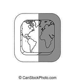 carte, carrée, silhouette, continents, autocollant, bouton, contour