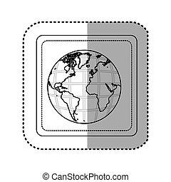 carte, carrée, silhouette, continents, autocollant, la terre, mondiale, bouton, 3d