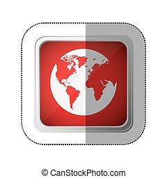 carte, carrée, silhouette, globe, bouton, la terre, mondiale, autocollant, rouges