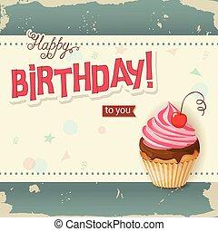 carte, cerise, petit gâteau, réaliste, anniversaire, vendange