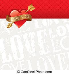 carte, coeur, &, doré, valentines, transpercé, vecteur, belted, flèche, ruban