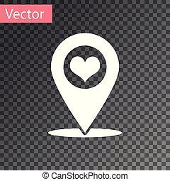 carte, coeur, isolé, illustration, arrière-plan., vecteur, blanc, indicateur, transparent, icône