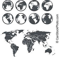 carte, collection., globe, gabarit, la terre, selectable,...