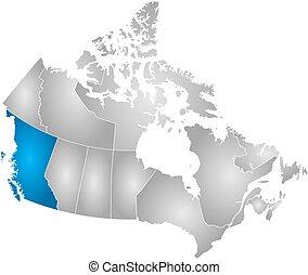 carte, -, colombie, britannique, canada
