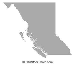 carte, colombie, britannique