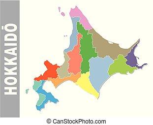 carte, coloré, administratif, politique, drapeau japonais, vecteur, préfecture, hokkaido