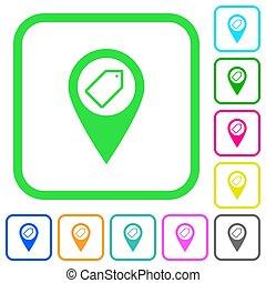 carte, coloré, icônes, plat, vif, emplacement, étiquetage,...