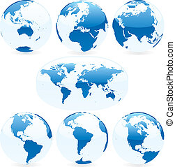 carte, coloré, illustration, vecteur, globes, mondiale