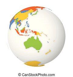 carte, coloré, map., globe, politique, illustration, vecteur, vide, la terre, australia., 3d