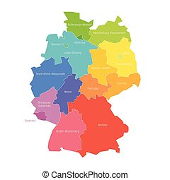 carte, coloré, pays, régional, illustration, etats, vecteur, administratif, divisions., germany.