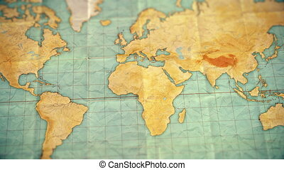 carte, coloré, vendange, sépia, -, zoom, version, afrique, ...