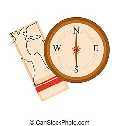 carte, compas, icône